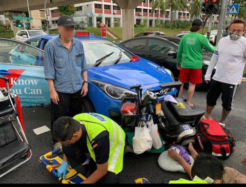 Elderly PMA Rider Hospitalized after Accident with Taxi