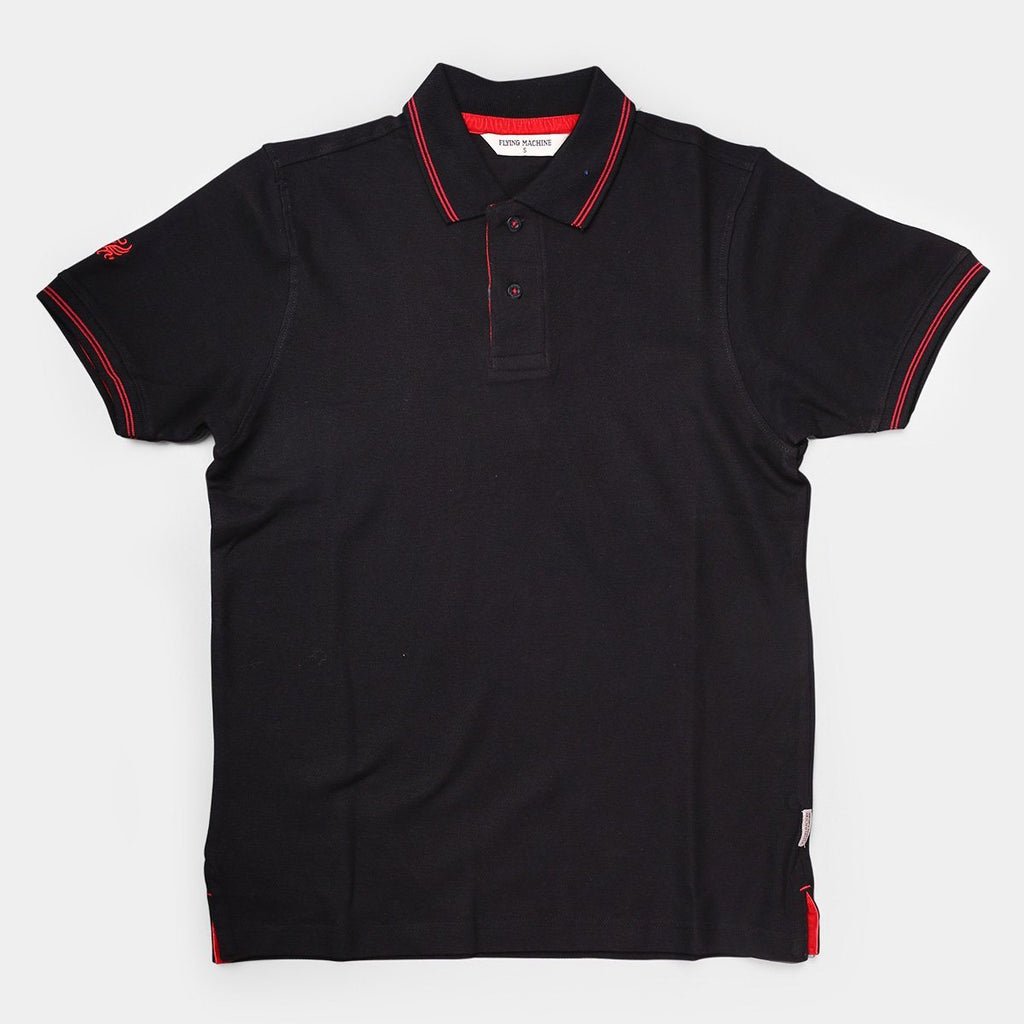Flying Machine Polo T-shirts Black with Red Tipping