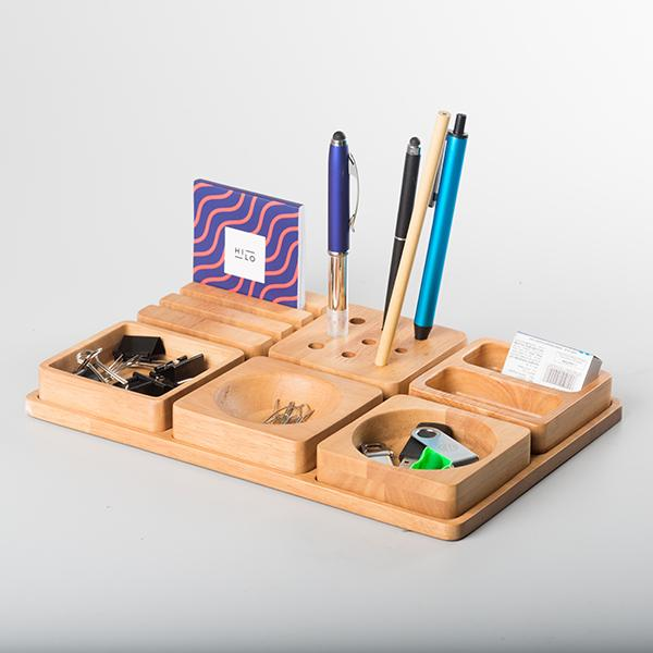 6 Block Wooden Desk Tray