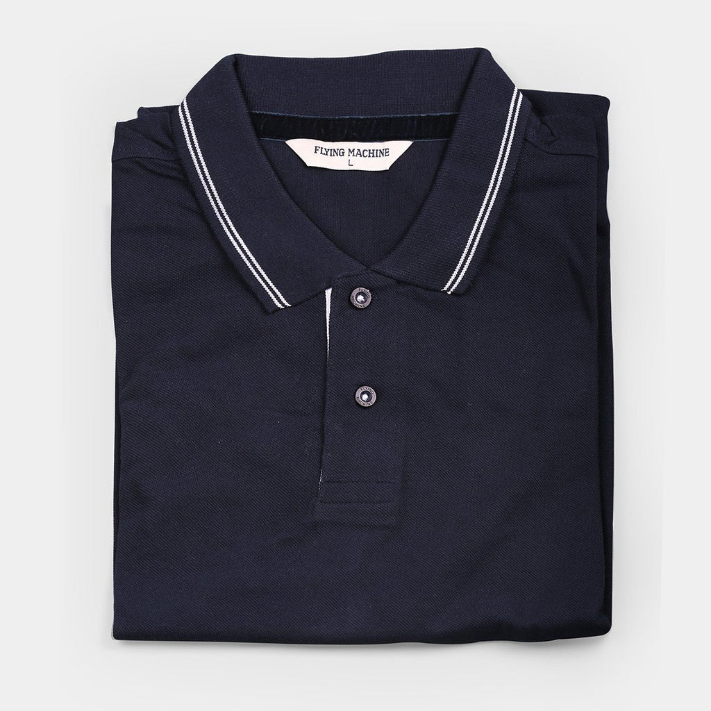 Flying Machine Polo T-shirts Navy Blue with Red Tipping