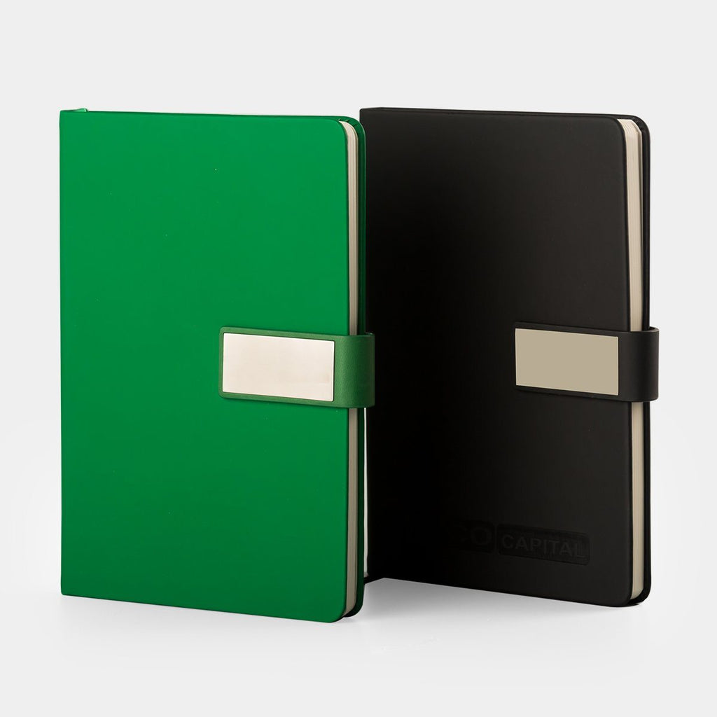 Journal with Rectangle Metal Badge