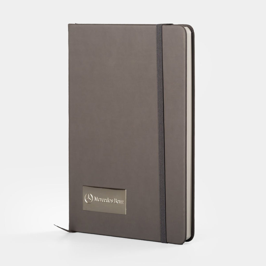 Notebook with metal plate