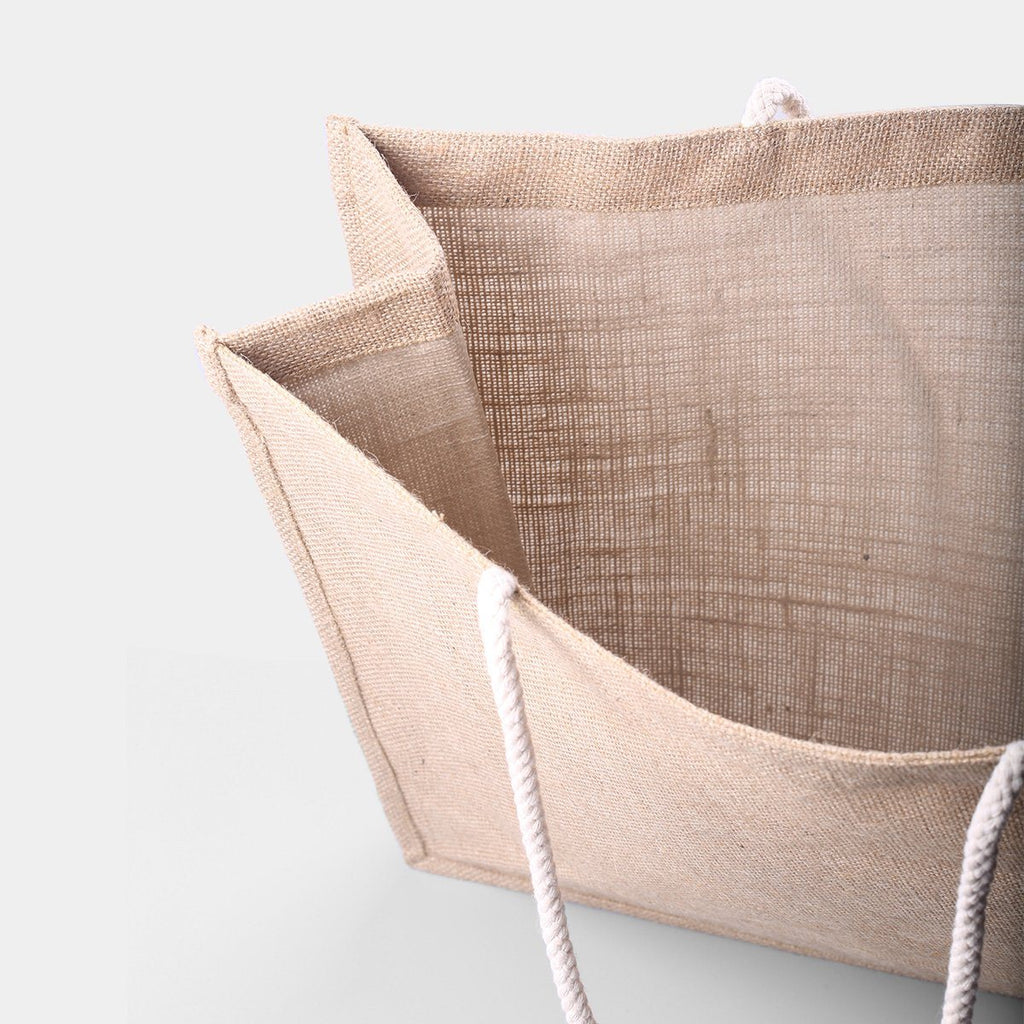Wide Jute Carry Tote