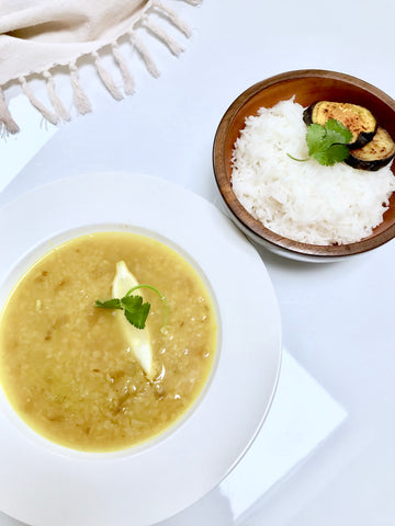 daal served with basmati rice and eggplant baji