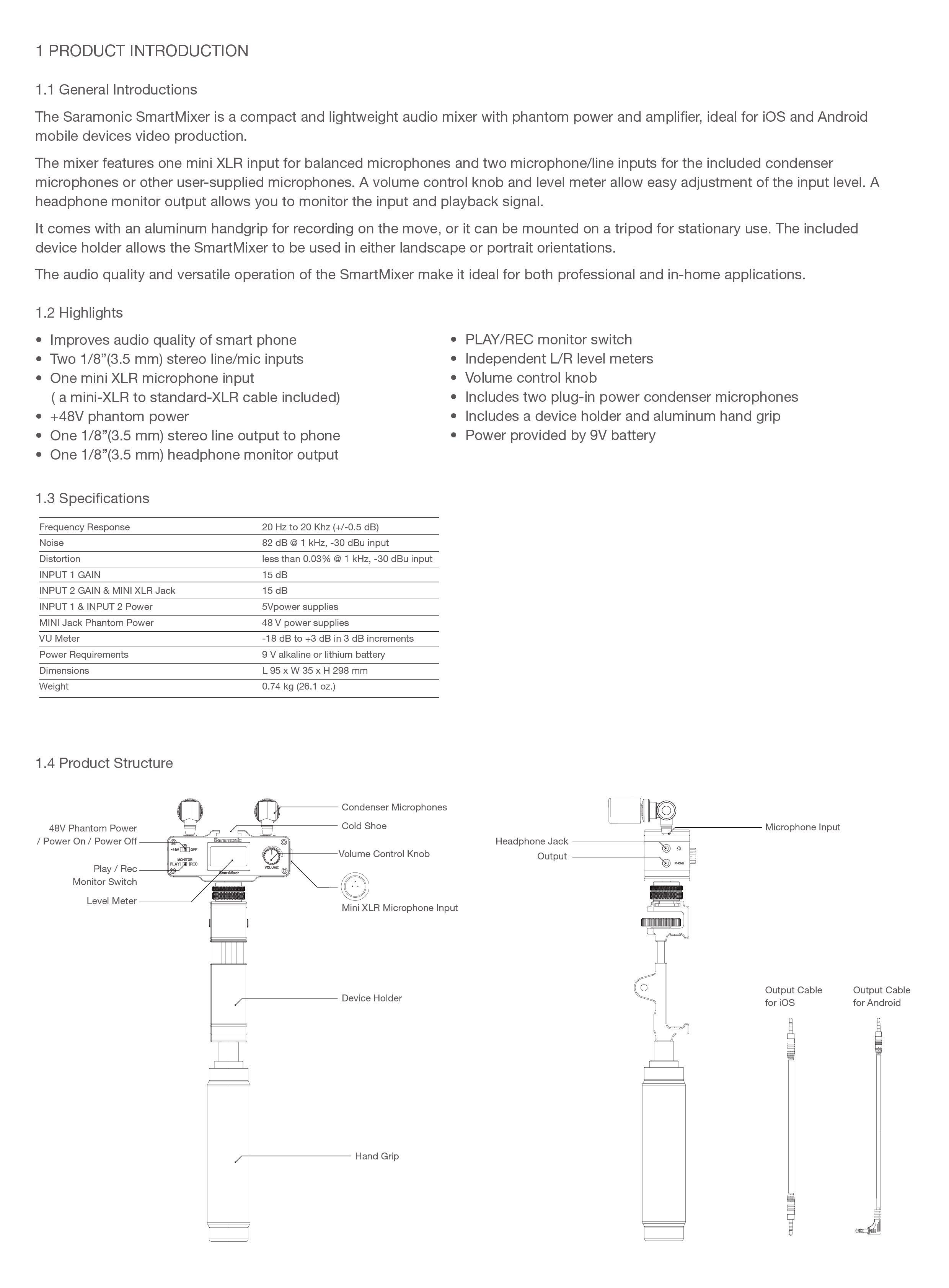 Product Manuals Saramonic Usa Android Cable Schematic Smartmixer Manual Page 1
