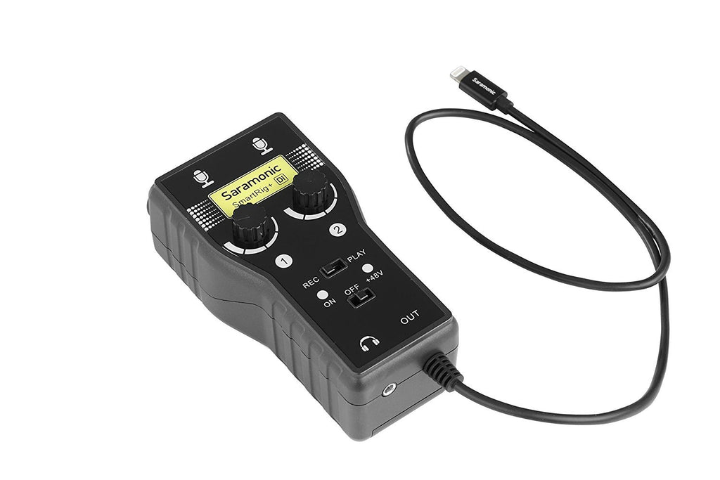 Saramonic SmartRig+Di (with Lightning Connector for iOS) - 2-Ch XLR/3.5mm Microphone Audio Mixer (Phantom Power Preamp, Guitar Interface)