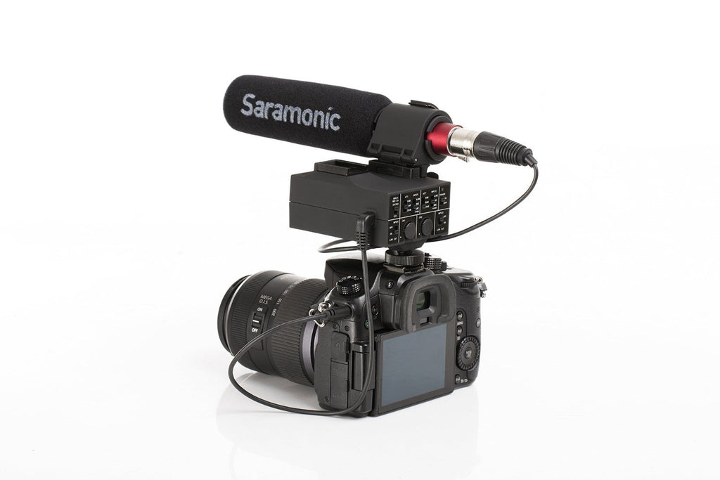 MixMic 2-Channel XLR On-Camera Audio Adapter and Mixer with SR-NV5 Shotgun Microphone Kit and +48V Phantom Power and Shoe Mount for DSLR and Mirrorless and Video Cameras