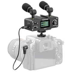 CaMixer On-Camera Audio Adapter & Mixer with Dual Microphones & XLR for DSLR, Mirrorless & Video Cameras