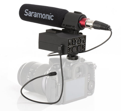 MixMic - Shotgun Microphone with Integrated 2-Channel XLR Audio Adapter for DSLR Cameras & Camcorders