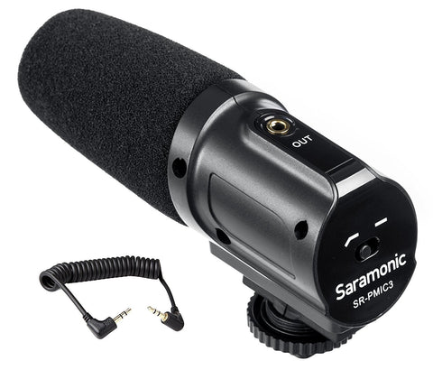 Saramonic USA - Saramonic SR-PMIC3 Surround Recording Microphone with Integrated Shockmount, Low-Cut Filter & Battery-Free Operation for DSLR Cameras & Camcorders