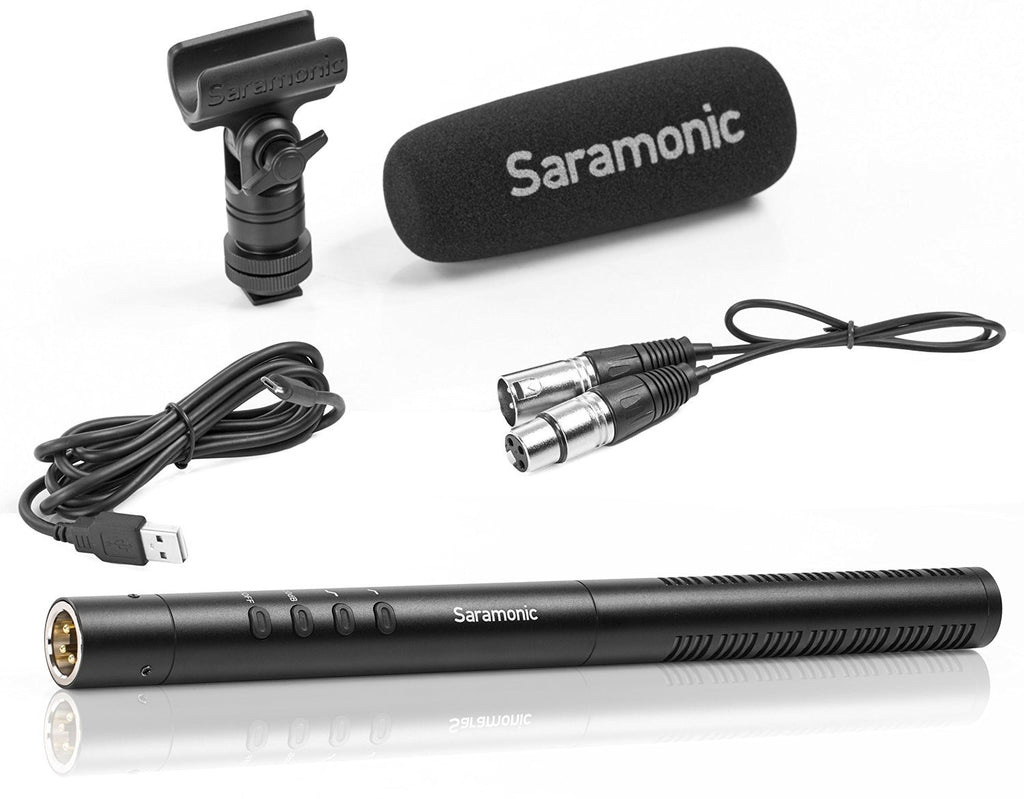 SR-TM1 - Super-Cardioid Broadcast XLR Shotgun Condenser Microphone with Built-in Rechargeable Battery, 11