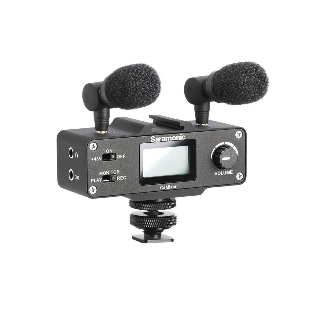 CaMixer On-Camera Audio Adapter and Mixer with Dual Microphones and XLR with +48V Phantom Power Preamp, Headphone Output and Shoe Mount for DSLR, Mirrorless and Video Cameras