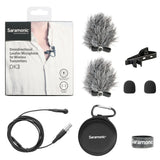 DK3F Premium 4mm Omnidirectional Lavalier Microphone for AKG, Samson & Saramonic Wireless Transmitters with TA3F Locking Connector