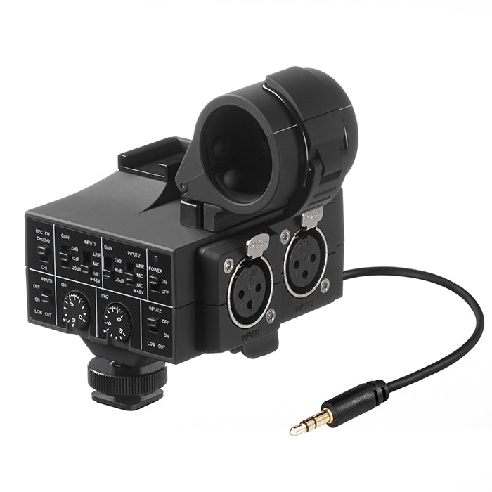 Mix-Adapter 2-Channel XLR On-Camera Audio Adapter and Mixer with +48V  Phantom Power, Shockmount and Shoe Mount for DSLR and Mirrorless and Video