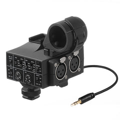 Mix-Adapter 2-Channel XLR On-Camera Audio Adapter and Mixer with +48V Phantom Power, Shockmount and Shoe Mount for DSLR and Mirrorless and Video Cameras