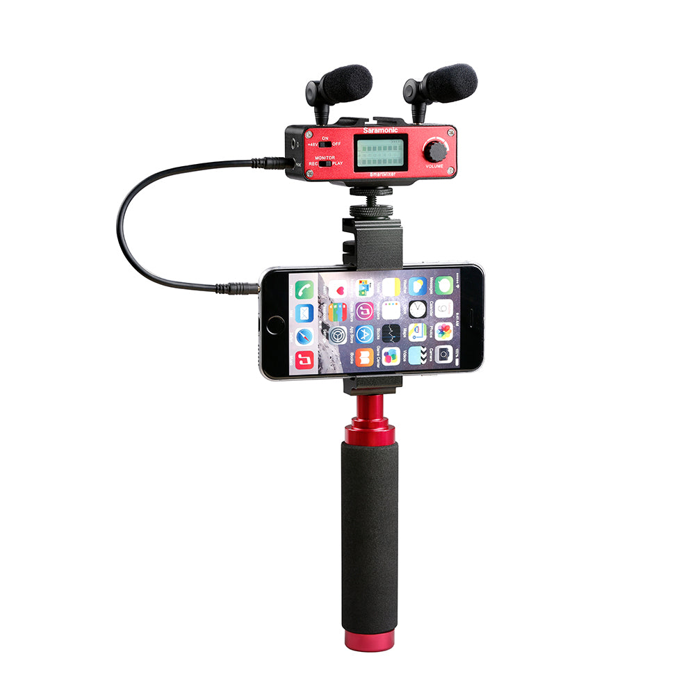 SmartMixer Smartphone Mixer with Dual Microphones, Handgrip & Headphone Output for Apple iPhone & Android
