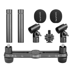 SR-M500 Matched Pair Small-Diaphragm Condenser Microphone Kit with Stereo Bar for X-Y & ORTF Stereo Recording