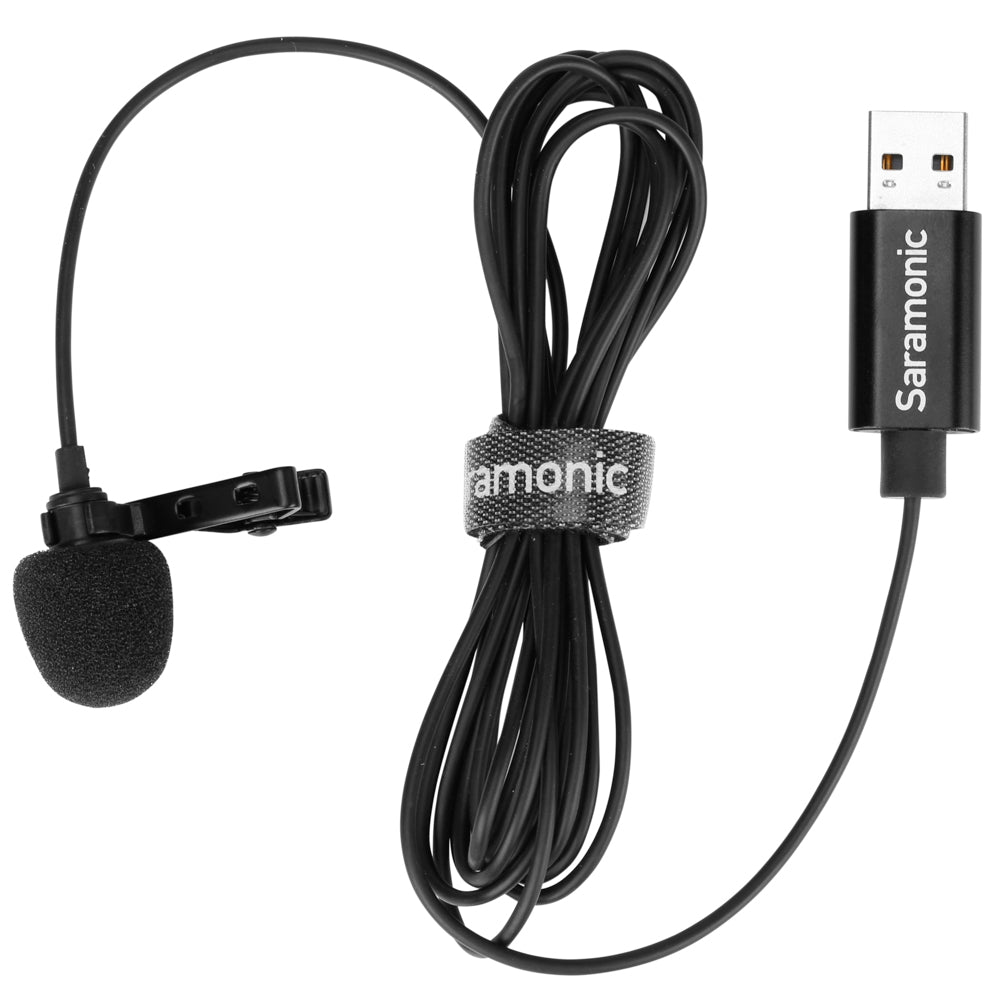 SR-ULM10 Ultracompact Clip-On Lavalier Microphone with USB-A Connector for Mac and Windows Computers with a Built-in 6.56-foot (2m) Cable