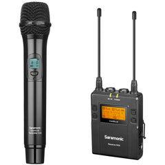 UwMic9 RX9+HU9 UHF Wireless Handheld Microphone System with Portable Dual-Channel Camera-Mountable Receiver