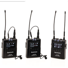 UwMic9S Kit 2 Advanced 2-Person Wireless UHF Lavalier System with Dual Camera-Mount Receiver, Premium DK3A Lavaliers, Li-Ion Power, Hard Case & more