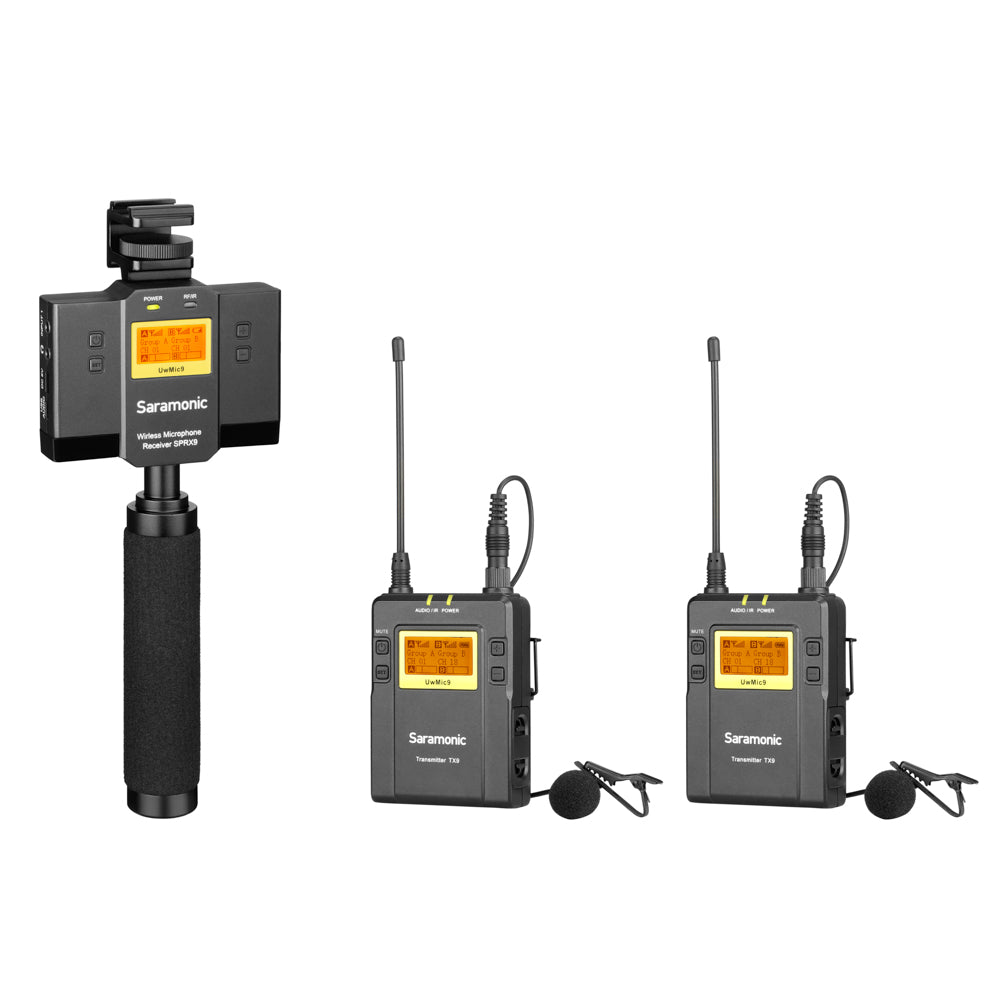 UwMic9 SP-RX9+TX9+TX9 Dual UHF Wireless Lavalier Mic System & Audio Mixer for Apple iPhone & Android Smartphones with Mount & Stabilization Handle