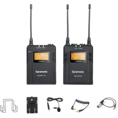 UwMic9 RX9+TX9 UHF Wireless Lavalier Microphone System with Portable Dual-Channel Camera-Mountable Receiver