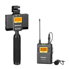 UwMic9 SP-RX9+TX9 UHF Wireless Lavalier System & Audio Mixer for Apple iPhone & Android Smartphones with Dual-Channel Receiver, Mount & Stabilization Handle