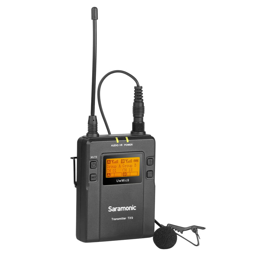 UwMic9 TX9 UHF Bodypack Transmitter and SR-M1 Omnidirectional Clip-On Lavalier for UwMic9 RX9 Receiver