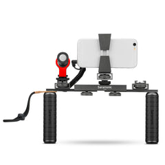 VGM Smartphone/Camera Vlogging & Video Production Kit with Adjustable Dual Stabilizing Grips, Shoe Mounts & Vmic Mini Microphone