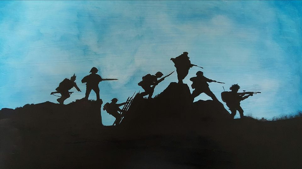 Dave H Remembrance Art painting 'Transitions in Blue', depicting the transition of British soldiers from the Napoleonic era to current days.