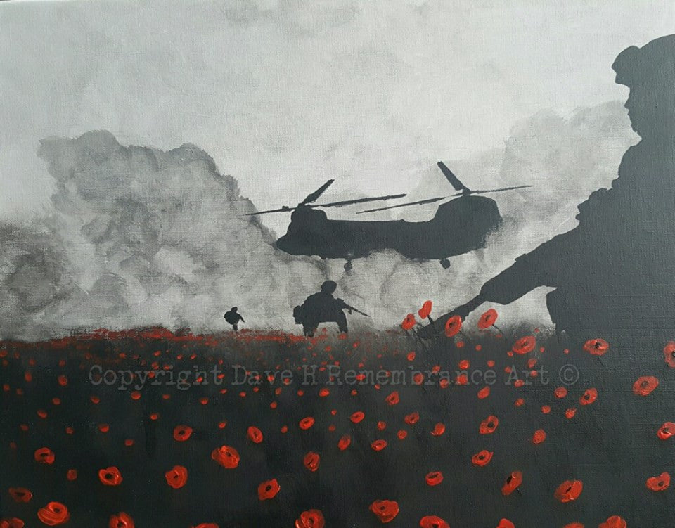 Dave H Remembrance Art painting 'Taxi's here!' depicting a patrol of British soldiers being picked up by a Chinook helicopter from a field of poppies