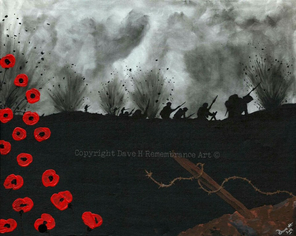 Dave H Remembrance Art Charge into Hell painting