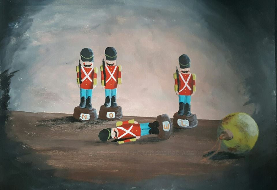 'Remembering the fallen at Christmas' is a painting by Dave H which depicts a soldier Christmas decoration which has been knocked over by a fallen bauble, intended to make viewers contemplate the sacrifice of those who've fallen in defence of their country and their families at Christmas.