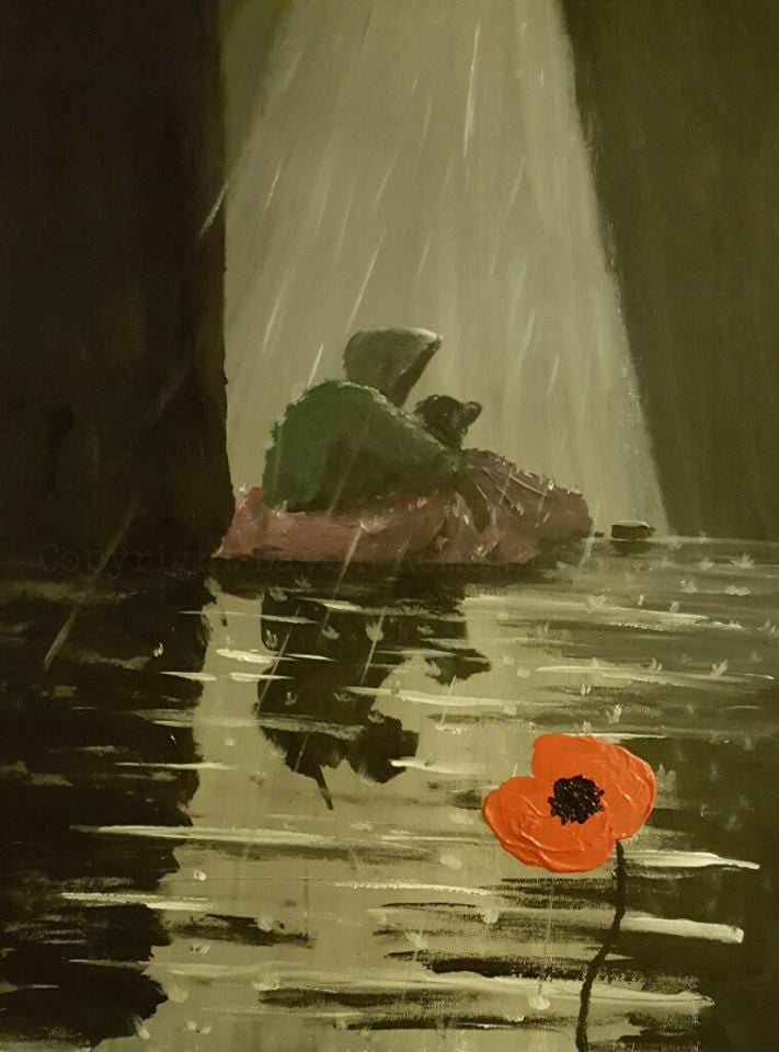 remembrance poppy art homeless ex-soldier