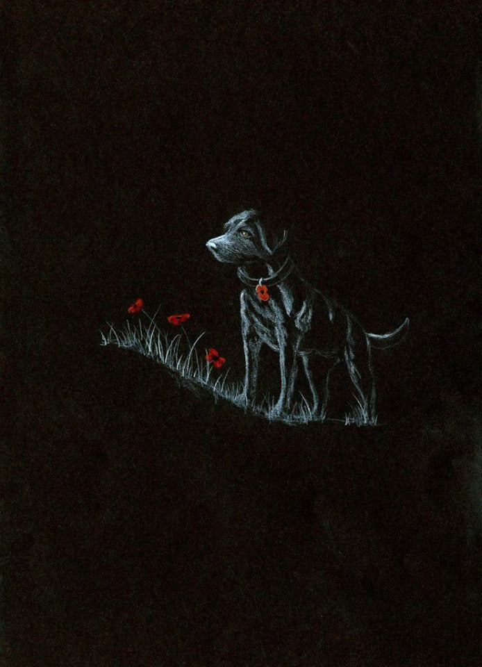 black poppy dog art