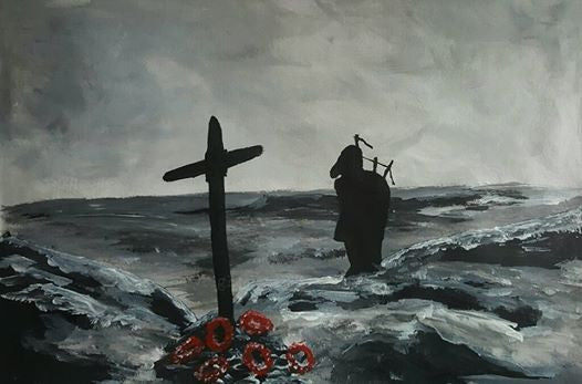 'Tumbledown Lament' is a painting by Dave H which depicts a lone piper at the memorial cross on Mount Tumbledown in the Falklands.