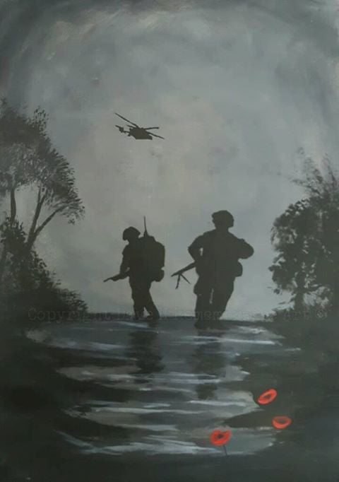 painting soldiers patrolling with helicopter