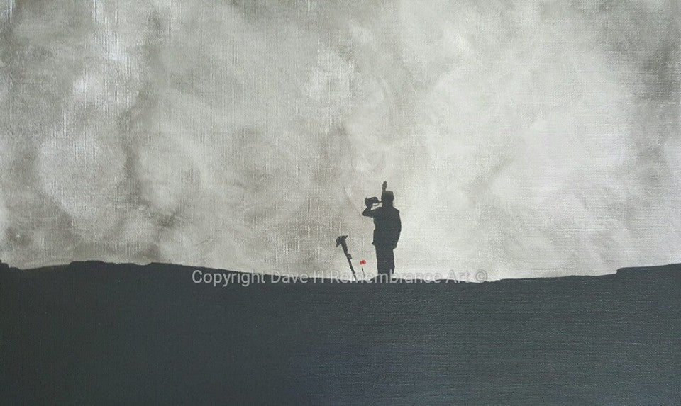 Dave H remembrance art painting depicting a lone bugler playing at the grave of a fallen soldier with poppies