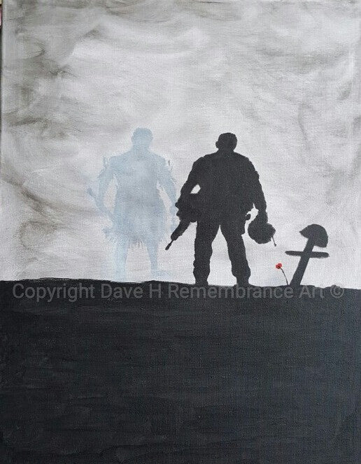 Original Dave H Remembrance Art painting depicting a Fijian soldier at the grave of a fallen comrade with a Fijian spirit behind. Fijian, Warrior Spirit.