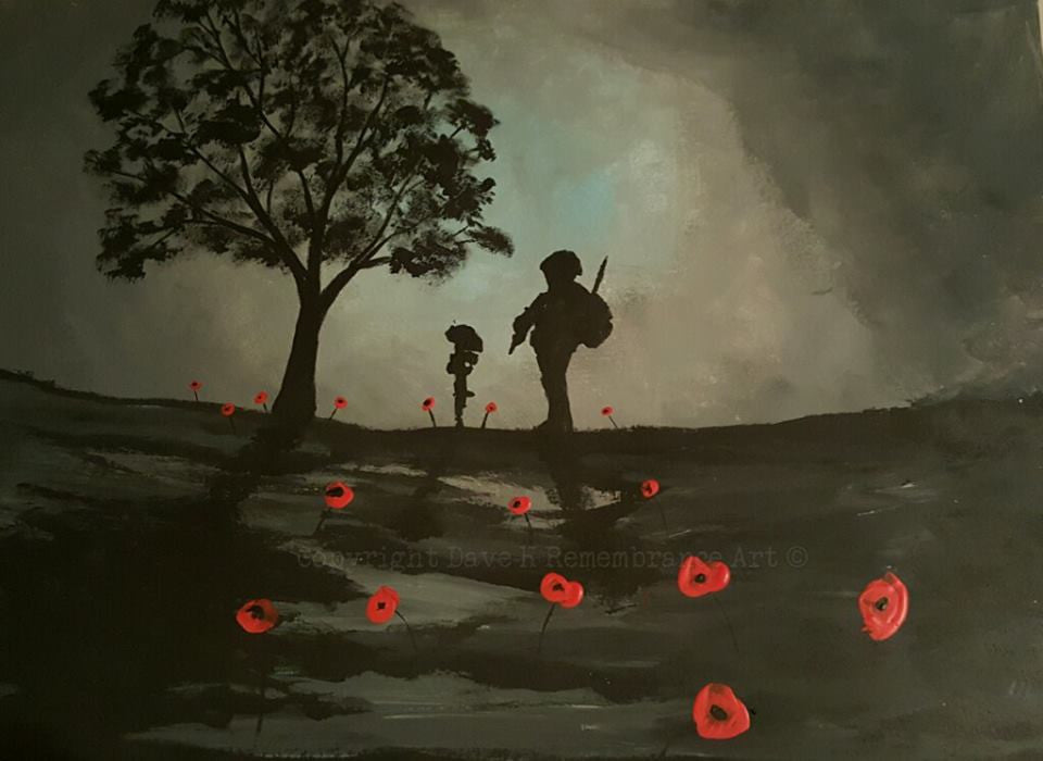 Dave H Remembrance Art painting Evening Sorrow soldier battlefield cross