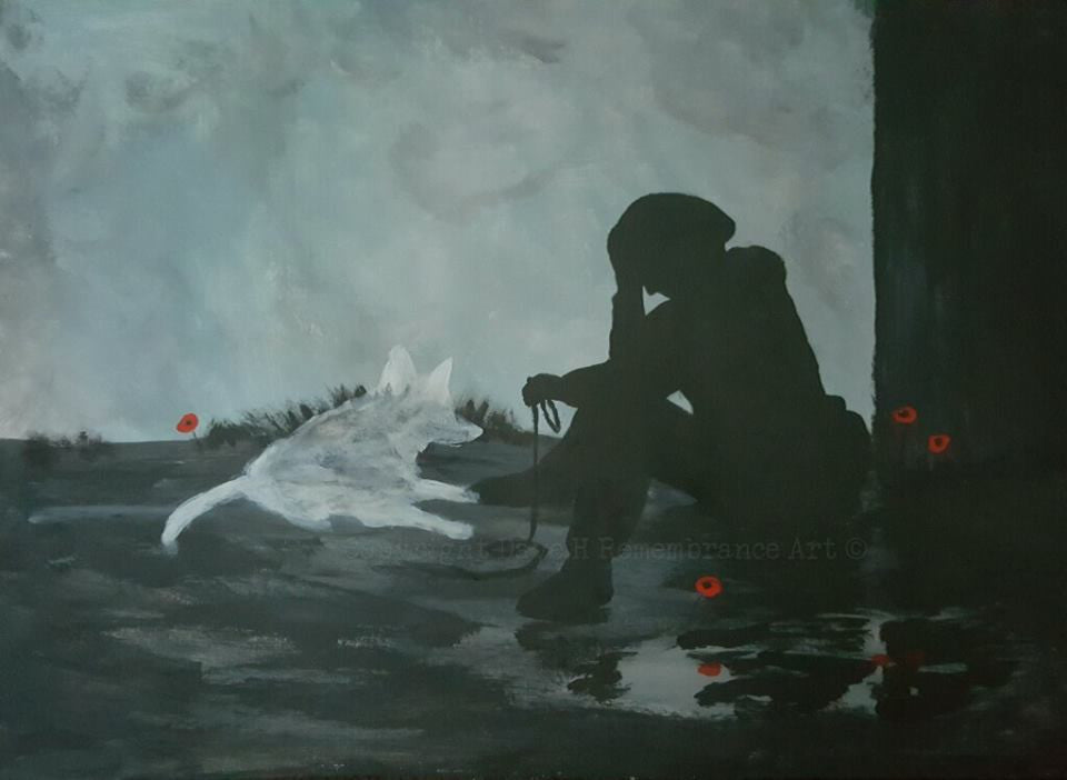 remembrance art painting soldier spirit dog