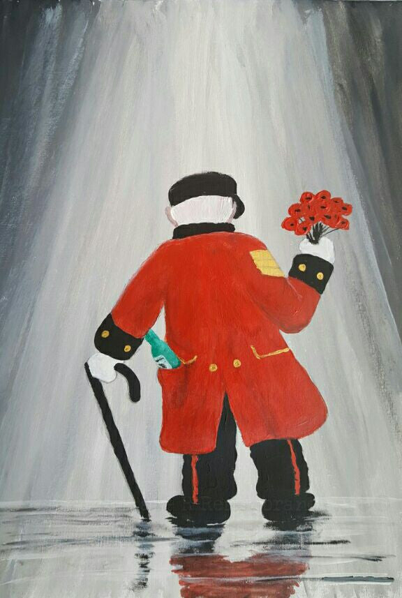 Chelsea Pensioner painting poppies