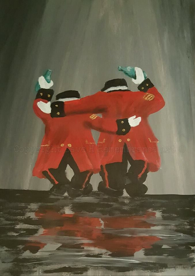 Chelsae Pensioners painting pals by Dave H Remembrance Art