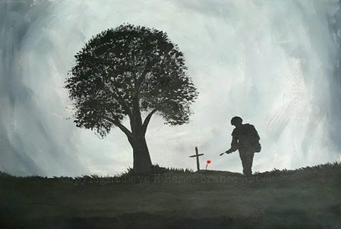 painting soldier grave tree