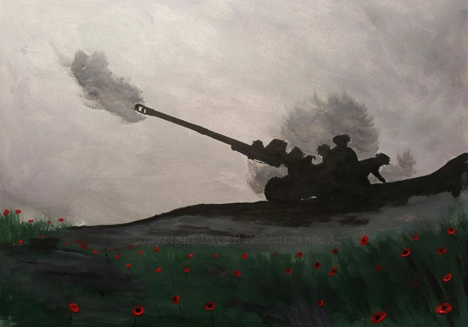 105mm field gun painting poppies Dave H
