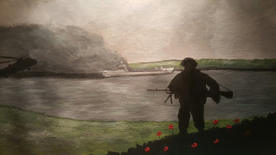'Remembering the Sir Galahad' is a painting by Dave H which depicts the tragic loss of the Sir Galahad in the Falklands conflict.
