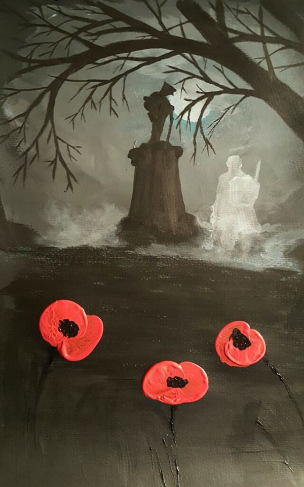 Dave H Remembrance art painting 'Still reporting for duty'