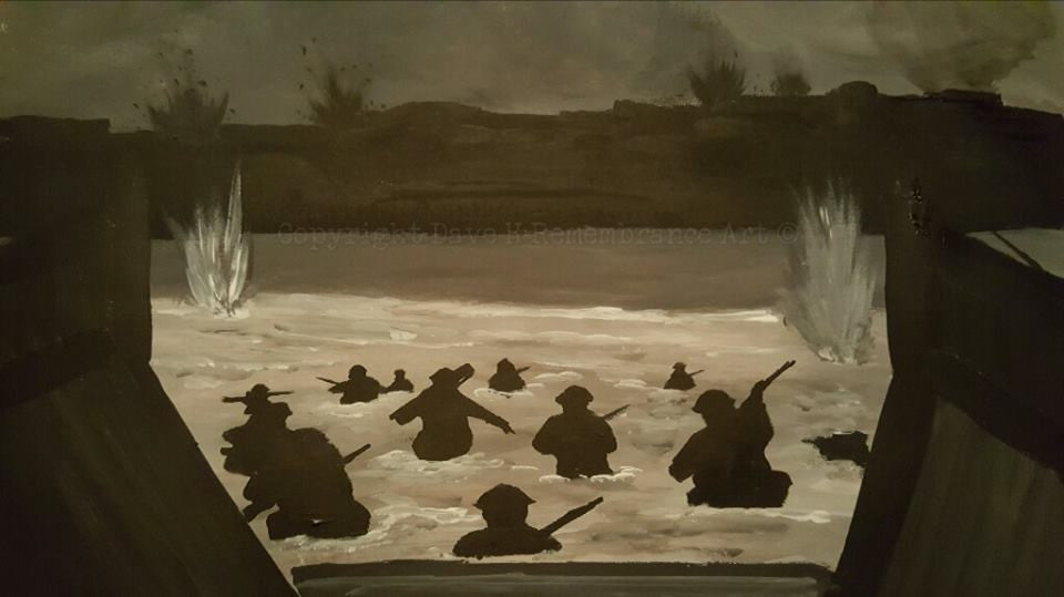 'Wading into history' is a painting by Dave H which depicts the heroic events of the Normandy landings on D Day during WW2.