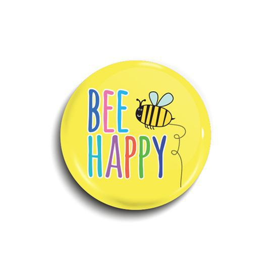 Bee happy button badge