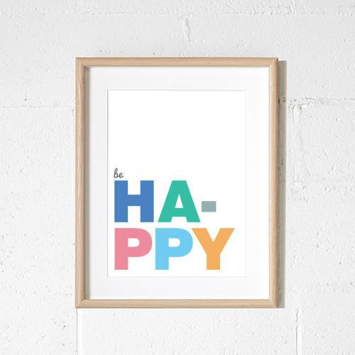 be happy colourful typography print for child's bedroom or nursery